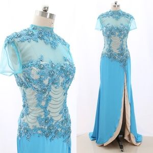 Short Sleeves High Neck Blue Formal Gown with Slit